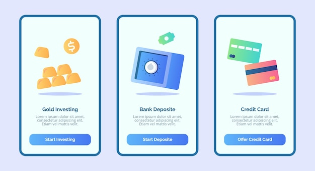 Gold investing bank deposit credit card for mobile apps template banner page ui