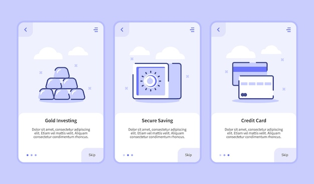 モバイルアプリテンプレートバナーページuiの金投資安全な保存クレジットカードオンボーディング画面