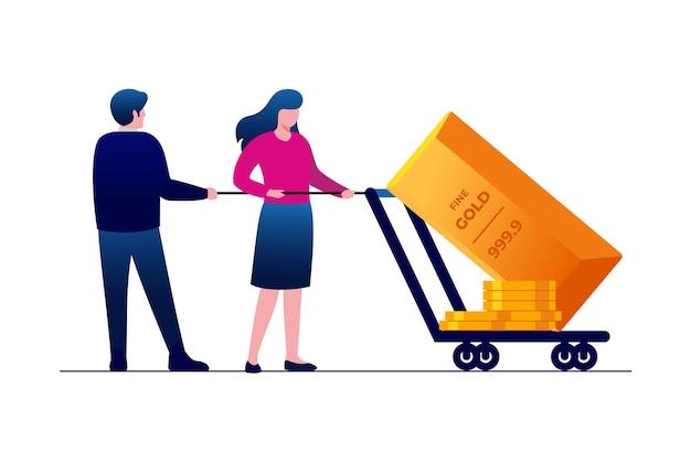 Gold investment flat vector illustration for banner landing page