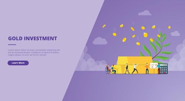 Золотые инвестиции с баннером веб-сайта золотой слиток