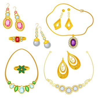 Gold jewelry with precious stones