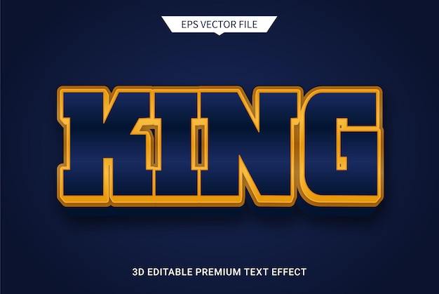Gold king 3d editable text style effect premium vector