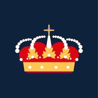 ゴールドキングクラウンアイコン。ベクトルフラット漫画イラスト。ウェブデザインの王冠ベクトルアイコンの漫画イラスト
