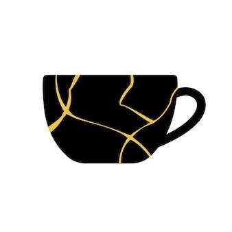 Gold kintsugi japanese art of repairing cup.