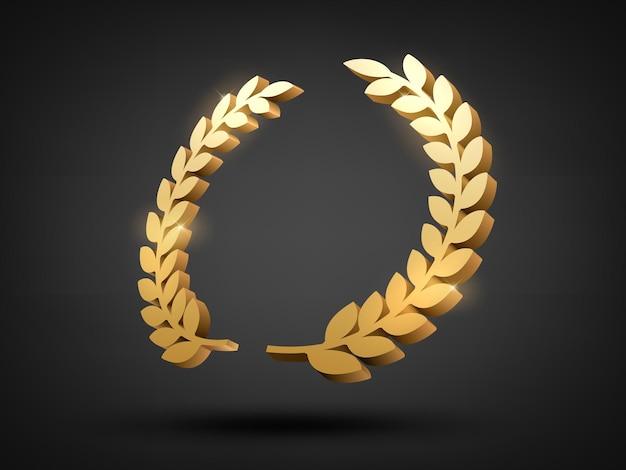 Gold laurel wreath 3d award perspective view vector illustration
