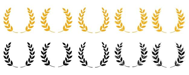 골드 월계관 - 승자의 상징. 밀 귀 또는 쌀 아이콘을 설정합니다. 흰색 배경에 고립 된 농업 기호입니다. 빵 포장 또는 맥주 라벨을 위한 디자인 요소입니다. 벡터 아이콘 세트입니다.
