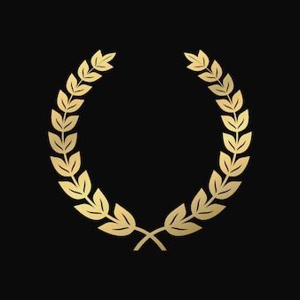 Золотой лавровый венок. символ победы, триумфа. старинный знак уважения. векторная иллюстрация.