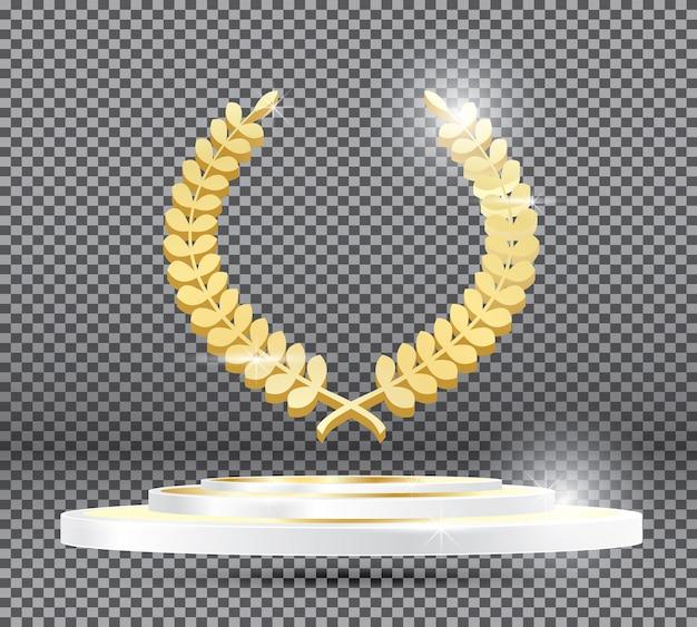 透明な背景の表彰台に金の月桂樹の花輪。