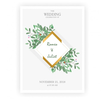 Gold and leaf frame wedding invitations