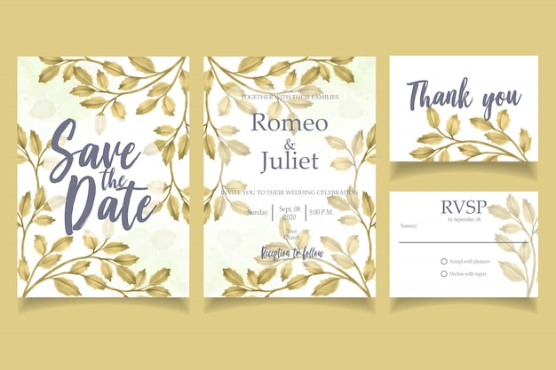Gold leaf watercolor invitation wedding party card floral template