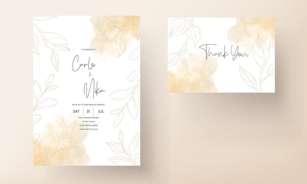 Gold leaf wedding invitation card template design
