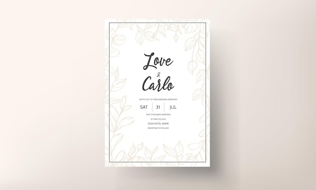 Disegno del modello di carta di invito a nozze foglia d'oro