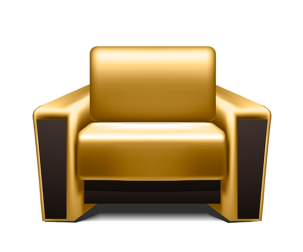 Gold leather armchair