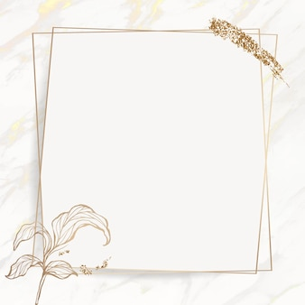Gold leaves frame with brush stoke