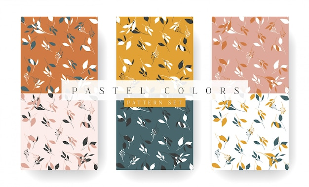 Gold leaves seamless pattern collection in pastel colors