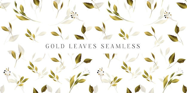 Gold leaves seamless pattern