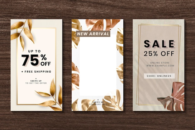 Gold leaves shopping discount template