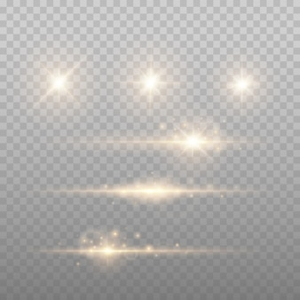 Gold lens flares vector illustration. shine starlight isolated. glowing light effect