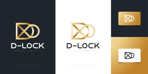 자물쇠 개념이 있는 골드 문자 d 로고 디자인. 보안 잠금 아이콘 로고 디자인 서식 파일