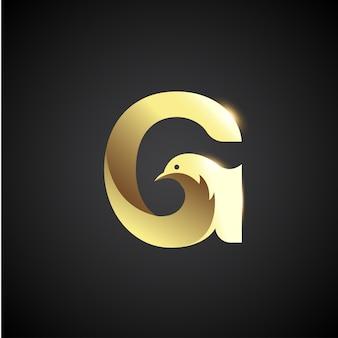 鳩のロゴのコンセプトとゴールドレターg。創造的でエレガントなロゴデザインテンプレート。
