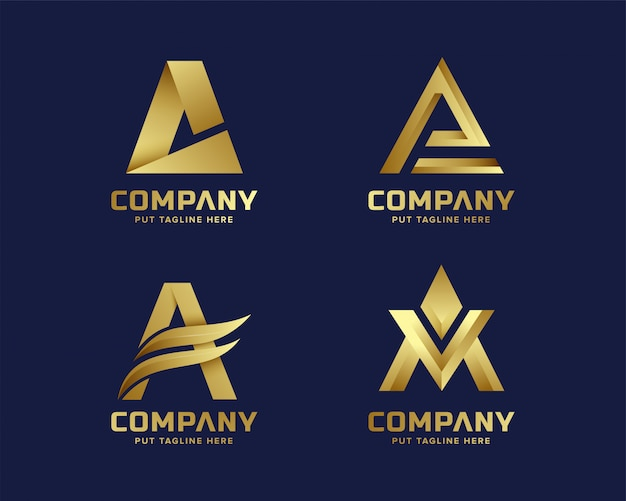Gold letter a logo collection