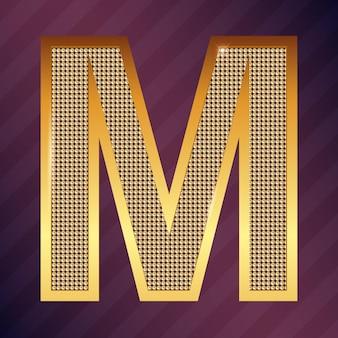 ロゴまたはアイコンのゴールド文字mベクトルフォントタイプ
