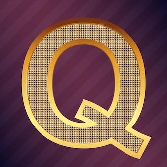 ロゴまたはアイコンのゴールド文字qベクトルフォントタイプ