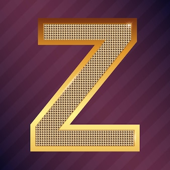 Gold letter z vector font type for logo or icon