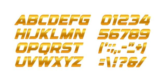 골드 문자와 숫자를 설정합니다. 황금 그라데이션 스타일 벡터 라틴 알파벳입니다. 이탤릭체 대담한 타이포그래피 디자인.