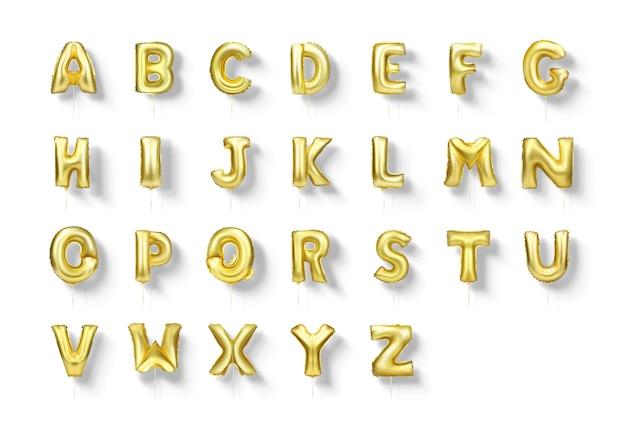 Gold letters foil balloons alphabet a to z 3d realistic font set.