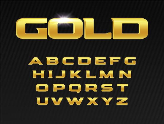 ゴールドの文字セット。プレミアムタイプセットデザイン。