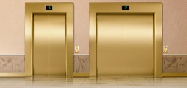 골드 리프트 도어 서비스 및화물 폐쇄 엘리베이터 골드 게이트 버튼이있는 홀 인테리어 건물 사무실 또는 호텔 현실적인 그림에서 무대 번호 패널 실내 교통