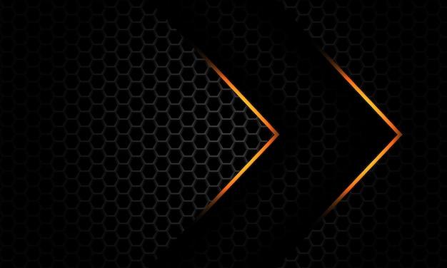 Gold light arrow direction overlap grey metallic hexagon mesh pattern futuristic background vector