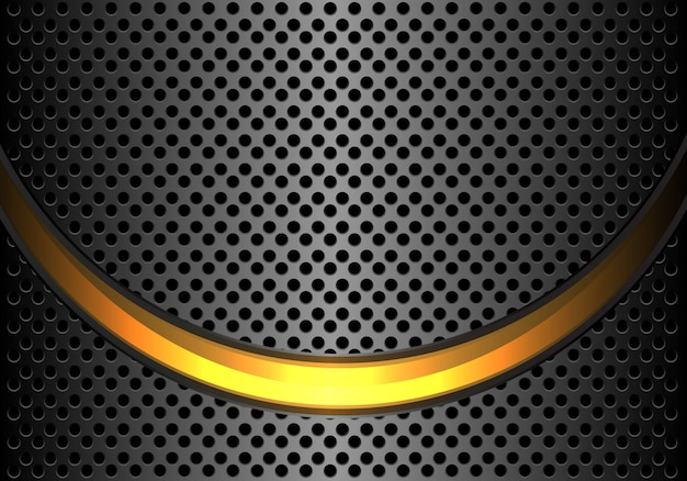 Gold light curve dark grey metallic circle mesh background .