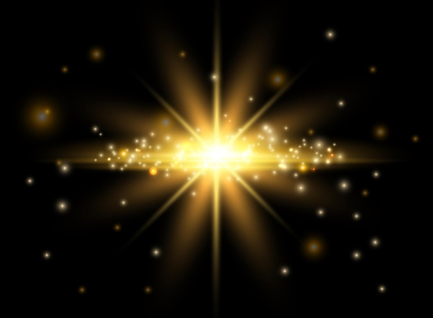 ゴールドライト効果。輝く星、ボケ効果、空飛ぶ輝きのベクトル要素。イラスト照らされた魔法の光の輝きのグラフィックがぼやけています