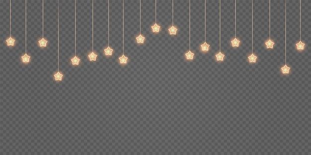 Gold light festive garland with golden dust bokeh overlay on transparent background design element