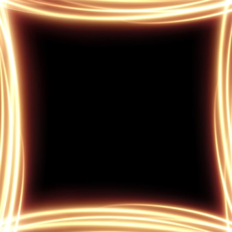 Gold light frame made of  golden abstract lines fiery festive frame for advertising banners pedestal