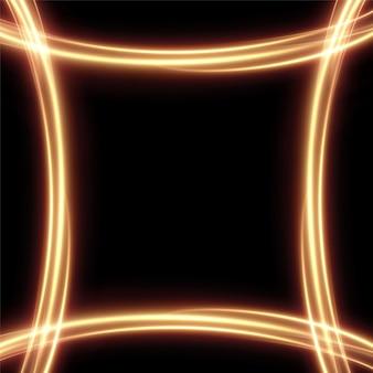 金色の抽象的な線で作られた金色のライトフレームバナーの台座を宣伝するための燃えるようなお祝いのフレーム