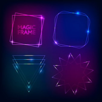 Gold light frames and elements magic shape