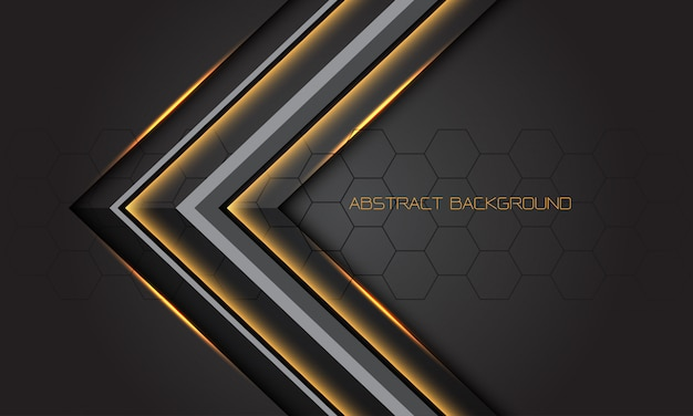 Gold light grey arrow direction on dark design modern luxury futuristic background.
