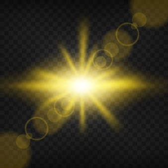Gold light shining on transparent background