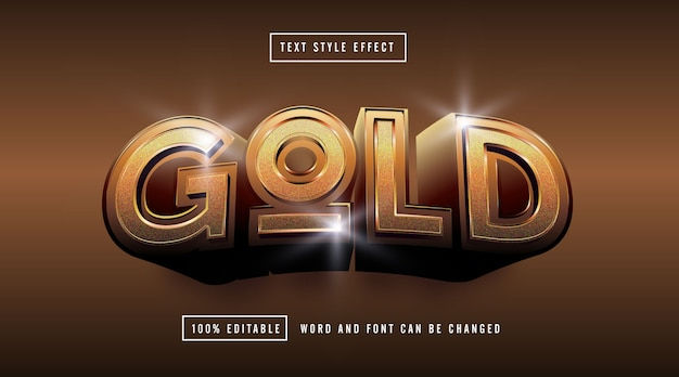 Gold light text effect editable