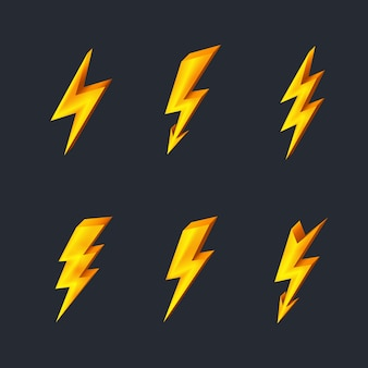 Gold lightning icons on black vector illustration