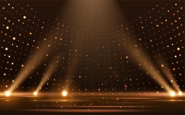 ゴールドライト光線シーンの背景 Premiumベクター