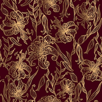Gold lilies on a burgundy seamless pattern.