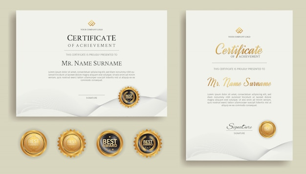 Gold line art certificate of achievement border template