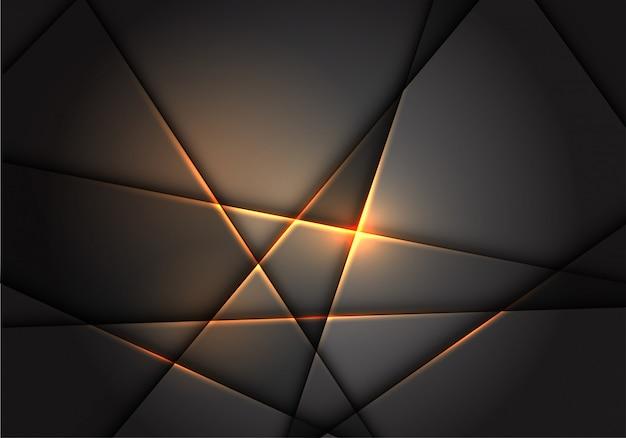 Gold line light polygon on grey metallic background.