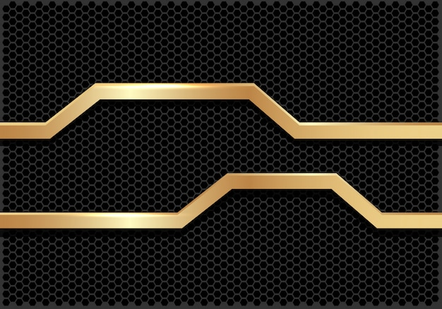 Gold line polygon banner dark hexagon mesh background.