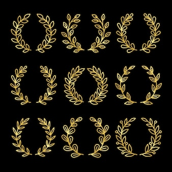 Gold linear wreath set