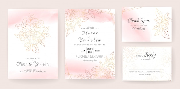 Gold lineart floral wedding invitation card template set with peach watercolor. abstract background save the date, invitation, greeting card, multi-purpose